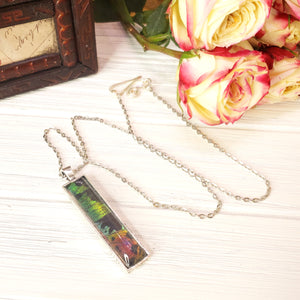 Madagascan Sunset Moth Silver Rectangle Necklace - The Steampunk Butterfly