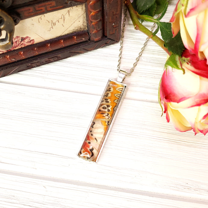 Red Lacewing Butterfly Silver Rectangle Necklace - The Steampunk Butterfly