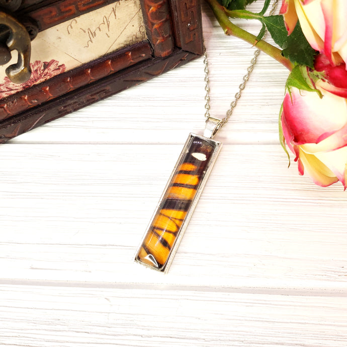 Monarch Butterfly Silver Rectangle Necklace - The Steampunk Butterfly