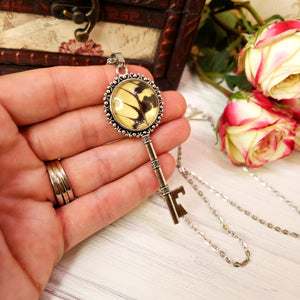 Eastern Tiger Swallowtail Butterfly Silver Key Necklace - The Steampunk Butterfly