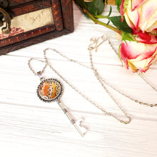 Load image into Gallery viewer, Red Lacewing Butterfly Silver Key Necklace - The Steampunk Butterfly