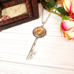Red Lacewing Butterfly Silver Key Necklace - The Steampunk Butterfly
