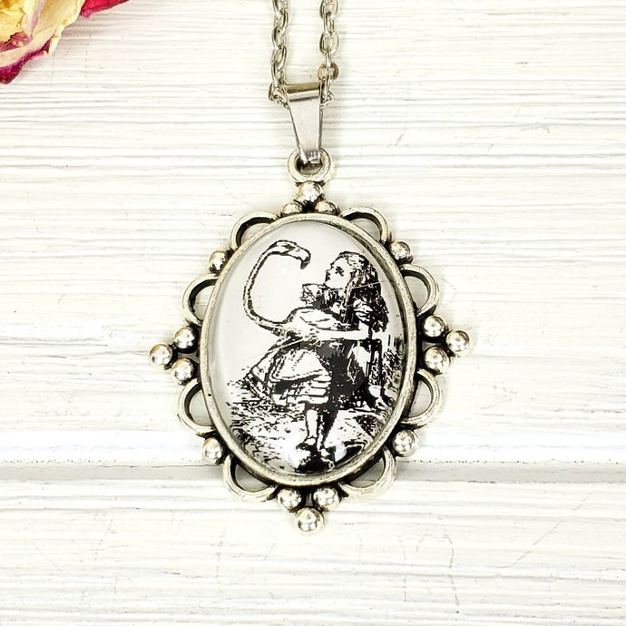 Alice in Wonderland Flamingo Croquet Necklace in Silver - The Steampunk Butterfly