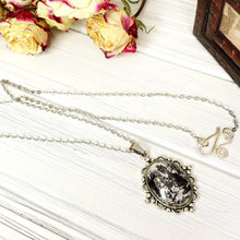 Load image into Gallery viewer, Alice in Wonderland Queen Necklace in Silver - The Steampunk Butterfly