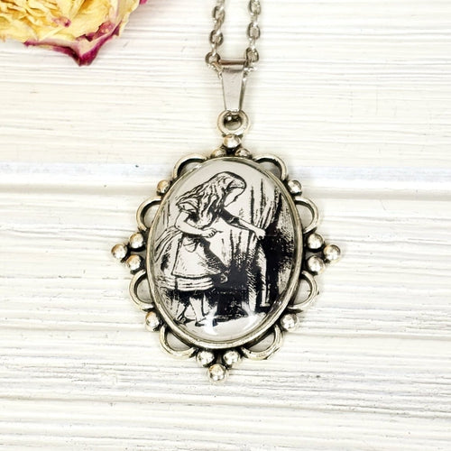 Alice in Wonderland Door Necklace in Silver - The Steampunk Butterfly