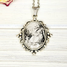 Load image into Gallery viewer, Alice in Wonderland Giant Alice Necklace in Silver - The Steampunk Butterfly
