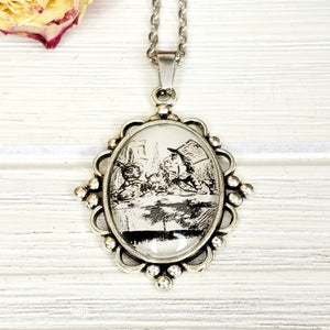 Alice in Wonderland Mad Hatter Tea Party Necklace in Silver - The Steampunk Butterfly
