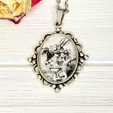 Load image into Gallery viewer, Alice in Wonderland White Rabbit Necklace in Silver - The Steampunk Butterfly