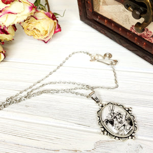 Alice in Wonderland White Rabbit Necklace in Silver - The Steampunk Butterfly