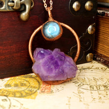 Load image into Gallery viewer, Electroformed Moon Over the Mountain Amethyst and Labradorite Necklace with Copper Chain - The Steampunk Butterfly