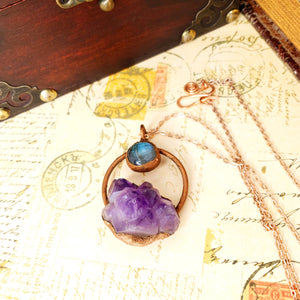 Electroformed Moon Over the Mountain Amethyst and Labradorite Necklace with Copper Chain - The Steampunk Butterfly