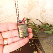 Load image into Gallery viewer, Electroformed Labradorite Cabochon Necklace with Gunmetal Chain - The Steampunk Butterfly
