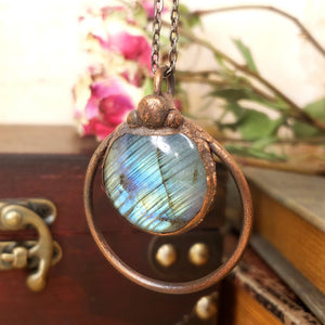 Electroformed Labradorite Cabochon Necklace with Gunmetal Chain - The Steampunk Butterfly