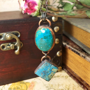 Electroformed Chrysocolla and Azurite Cabochon Pendant with Gunmetal Chain - The Steampunk Butterfly