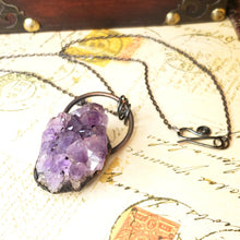 Load image into Gallery viewer, Electroformed Large Amethyst Geode Cluster with Gunmetal Chain - The Steampunk Butterfly