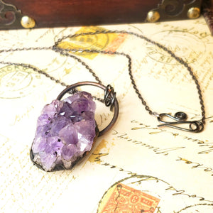Electroformed Large Amethyst Geode Cluster with Gunmetal Chain - The Steampunk Butterfly