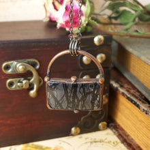 Load image into Gallery viewer, Electroformed Picasso Jasper Cabochon Necklace with Gunmetal Chain - The Steampunk Butterfly