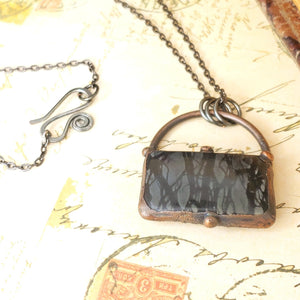 Electroformed Picasso Jasper Cabochon Necklace with Gunmetal Chain - The Steampunk Butterfly