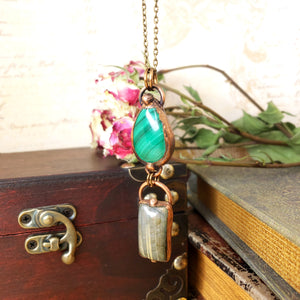 Electroformed Malachite and Labradorite Pendant with Bronze Chain - The Steampunk Butterfly