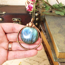 Load image into Gallery viewer, Electroformed Labradorite Cabochon Necklace with Bronze Chain - The Steampunk Butterfly