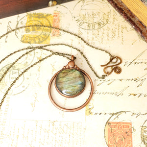 Electroformed Labradorite Cabochon Necklace with Bronze Chain - The Steampunk Butterfly