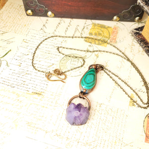 Electroformed Malachite Cabochon and Amethyst Cluster Pendant with Bronze Chain - The Steampunk Butterfly