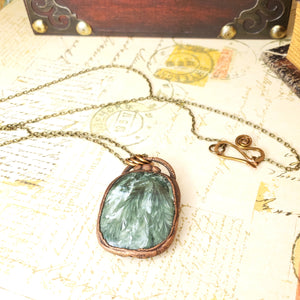 Electroformed Seraphinite Cabochon Necklace with Bronze Chain - The Steampunk Butterfly