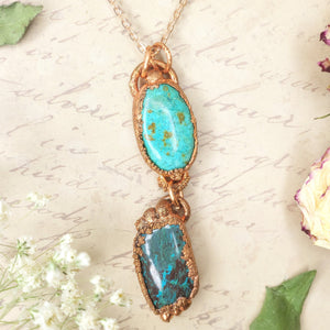 Electroformed Chrysocolla and Azurite Cabochon Pendant with Copper Chain - The Steampunk Butterfly