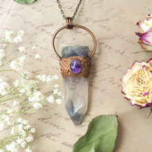 Load image into Gallery viewer, Electroformed Fluorite Point and Amethyst Crystal Necklace with Bronze Chain - The Steampunk Butterfly