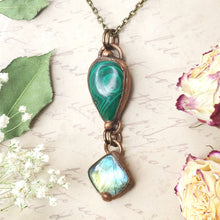 Load image into Gallery viewer, Electroformed Malachite and Labradorite Pendant with Bronze Chain - The Steampunk Butterfly