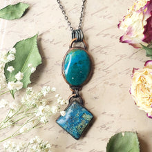 Load image into Gallery viewer, Electroformed Chrysocolla and Azurite Cabochon Pendant with Gunmetal Chain - The Steampunk Butterfly