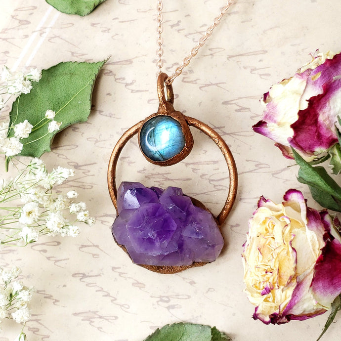 Electroformed Moon Over the Mountain Amethyst and Labradorite Necklace with Copper Chain