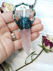 Rose Quartz Point with Larimar and Quartz Point Accents - Mystic Rose Collection - The Steampunk Butterfly