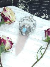 Load image into Gallery viewer, Rose Quartz Point with Quartz and Larimar Accents - Mystic Rose Collection - The Steampunk Butterfly