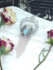 Rose Quartz Point with Quartz and Larimar Accents - Mystic Rose Collection - The Steampunk Butterfly