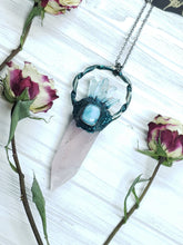 Load image into Gallery viewer, Rose Quartz Point with Larimar and Quartz Point Accents - Mystic Rose Collection - The Steampunk Butterfly