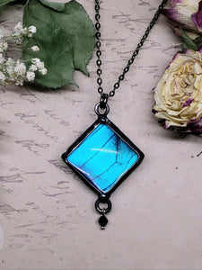 Blue Morpho Butterfly Necklace - Two-Sided Square Shape with Charm in Gunmetal - The Steampunk Butterfly