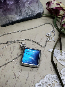 Blue Morpho Butterfly Necklace - Two-Sided Square Shape in Silver - The Steampunk Butterfly
