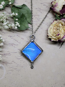 Blue Morpho Butterfly Necklace - Two-Sided Square Shape with Charm in Silver - The Steampunk Butterfly