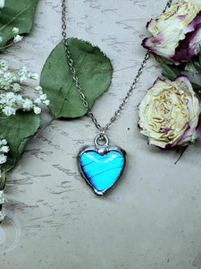 Blue Morpho Butterfly Necklace - Two-Sided Heart Shape in Silver - The Steampunk Butterfly