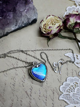Load image into Gallery viewer, Blue Morpho Butterfly Necklace - Two-Sided Heart Shape in Silver - The Steampunk Butterfly