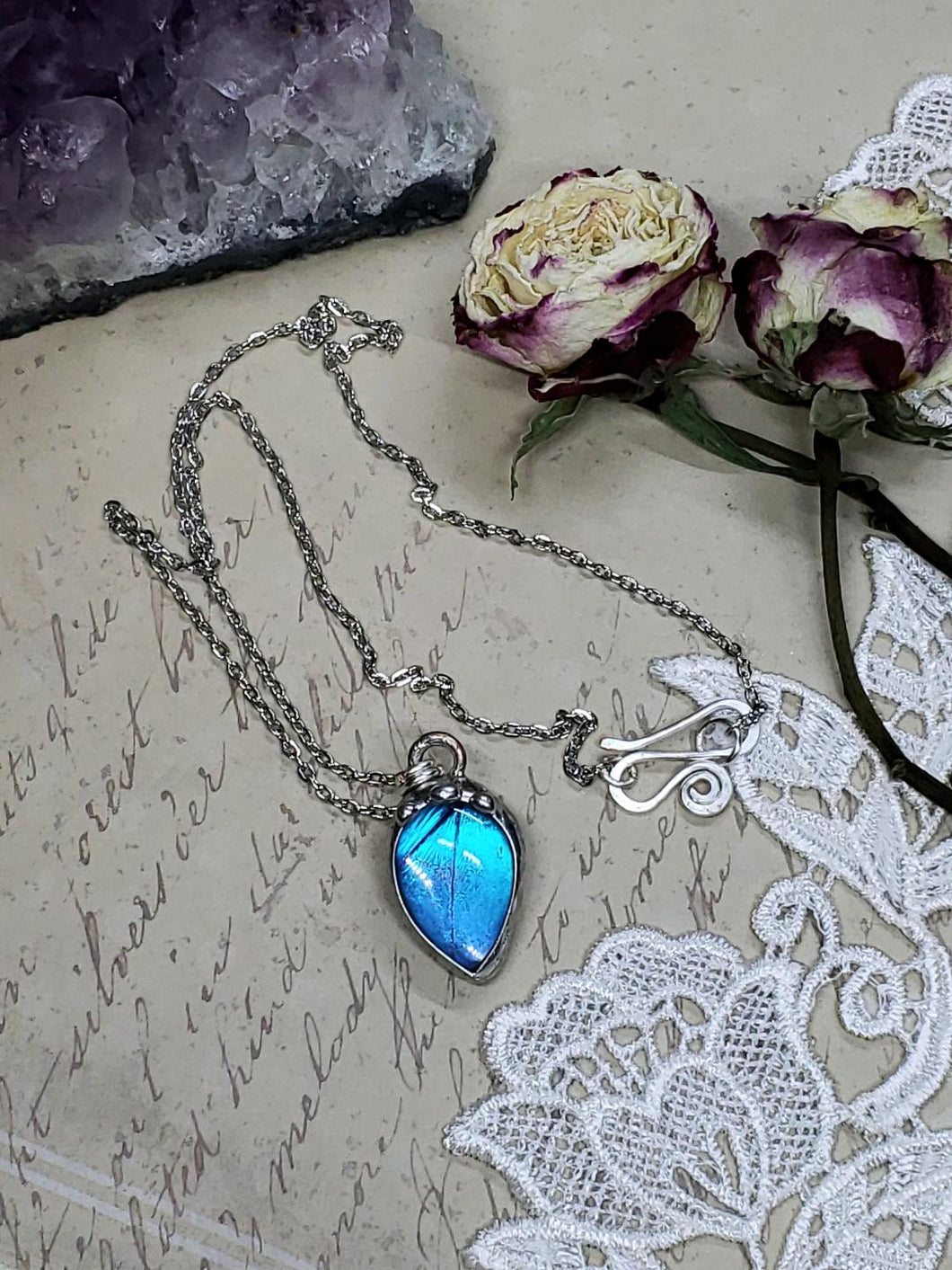 Blue Morpho Butterfly Necklace - Two-Sided Pear Shape in Silver - The Steampunk Butterfly