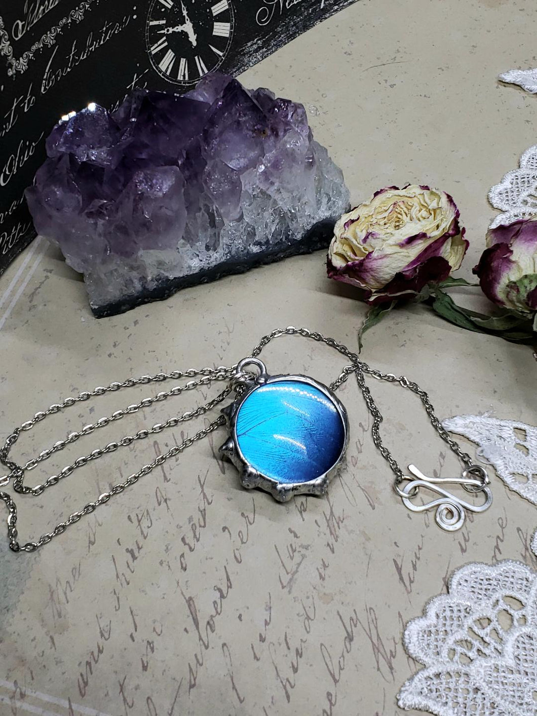 Blue Morpho Butterfly Necklace - Two-Sided Large Circle Fancy Shape in Silver - The Steampunk Butterfly