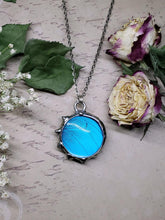 Load image into Gallery viewer, Blue Morpho Butterfly Necklace - Two-Sided Large Circle Fancy Shape in Silver - The Steampunk Butterfly