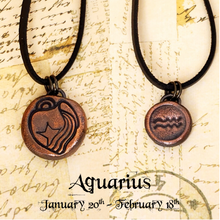 Load image into Gallery viewer, Zodiac and Horoscope Charm Necklace - Aquarius - The Steampunk Butterfly