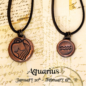 Zodiac and Horoscope Charm Necklace - Aquarius - The Steampunk Butterfly