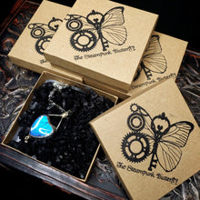 Load image into Gallery viewer, Blue Morpho Butterfly Necklace - Two-Sided Square Shape in Silver - The Steampunk Butterfly
