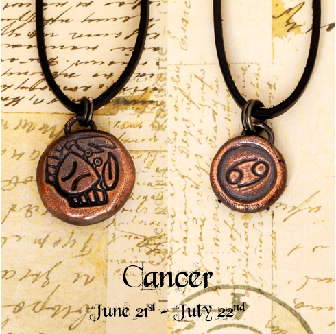 Zodiac and Horoscope Charm Necklace - Cancer - The Steampunk Butterfly