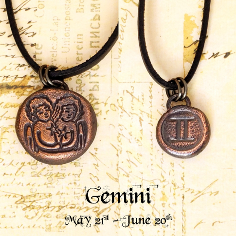 Zodiac and Horoscope Charm Necklace - Gemini - The Steampunk Butterfly