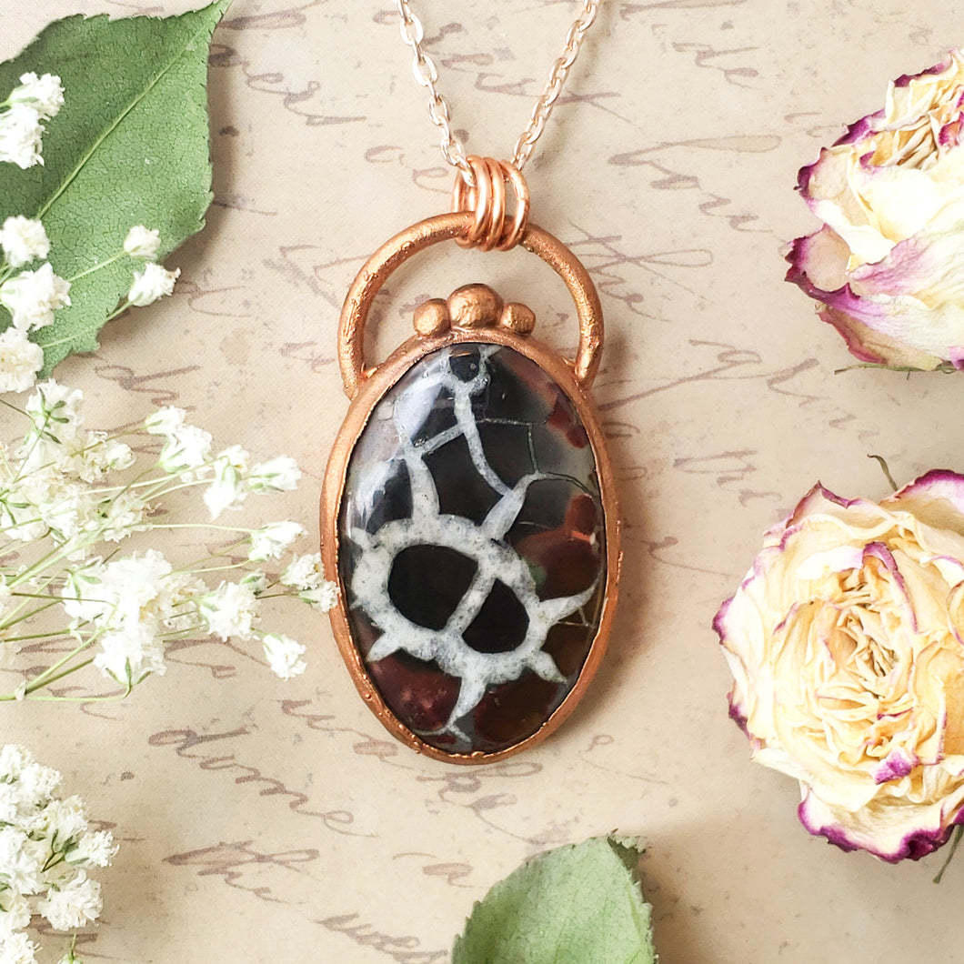 Electroformed Septarian Cabochon Necklace with Copper Chain - The Steampunk Butterfly